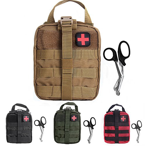Compact Tactical MOLLE Rip-Away EMT Medical First Aid Utility Pouch 1000D Nylon Carlebben (Tan)