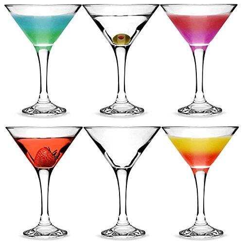 bar@drinkstuff Juego de 6 copas de Martini u otros cócteles y bebidas, 175 ml, en vidrio resistente