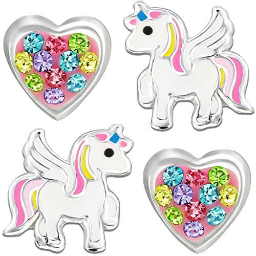 Orecchini da bambina in vero argento Sterling 925, a forma di unicorno, con cuore, smalto, zirconia cubica,
