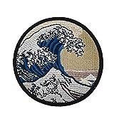 The Great Wave Off Kanagawa - Applique ricamata da applicare con ferro da stiro
