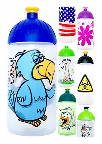 ISYbe Trinkflasche 500ml Vogel-Easy, weiß-transparent, schadstofffrei, spülmaschinengeeignet, auslaufsicher