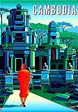 Vintage-Blech-Poster, asiatisch, Kambodschan, buddhistisch,