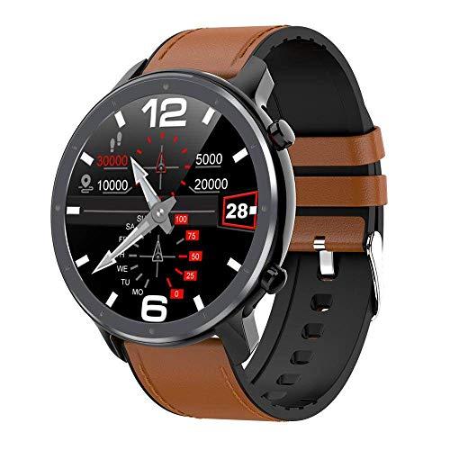 MOLINB Intelligente Uhr EKG PPG Smart Watch Männer Frauen Elektrokardiograph EKG Display IP68 Wasserdichtes Blutdruckmessgerät Fitness Armband, Schwarzes Leder