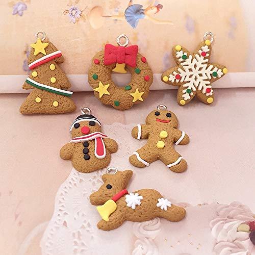 Xpizo WeihnachtsschmuckAnhänger Lebkuchen Mann WeihnachtsbaumdekoWeihnachtsdekoration 6 Stücke