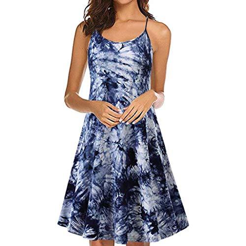 Vimoli Kleider Damen Kleid Damen Spitzenkleid Träger Rückenfreies Kleider Sommerkleider Strandkleider (Blau,De-42/CN-L)