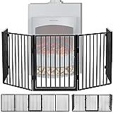 Juskys Metall Kaminschutzgitter 300 x 76 cm klappbar – Schutzgitter für Kinder & Tiere – 5 Elemente inkl. Tür – Laufgitter Absperrgitter Kindergitter