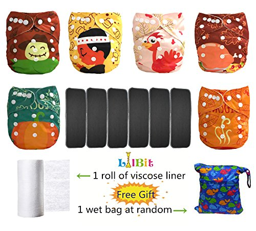 Alva Baby - Lot de 6couches lavables et réutilisables pour bébé - Réglables avec des boutons pression - Inserts en charbon de bambou - Gris anthracite