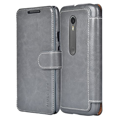Mulbess Cell Phone Cover for Moto G 3rd Generation Case, Moto G 3rd Gen Wallet Case, Leather Flip Phone Case for Moto G 2015, Gray