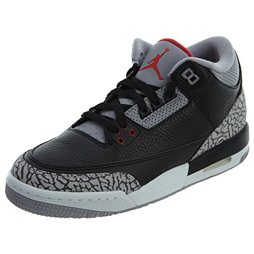 Nike Air Jordan 3 Retro Og BG Hi Top Basketball 854261 Sneakers Turnschuhe (UK 4 US 4.5Y EU 36.5, Black Fire Red Cement Grey 001)