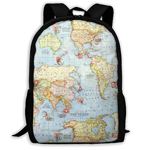 College Bag Atlas World Map Blue Travel Bookbag Interés Imprimir Mochila Escolar Custom College Bag Regalo De Cumpleaños Duradero Mochila Única Viaje Casual