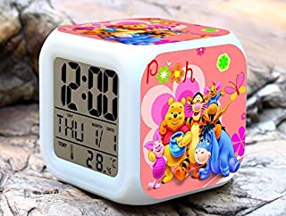 Cartoon Winnie The Pooh Digital LED 7 Changed Colorful Light Alarm Clocks Thermometer Night Electronic Kids Toys Best Gift for Children (Style 17)