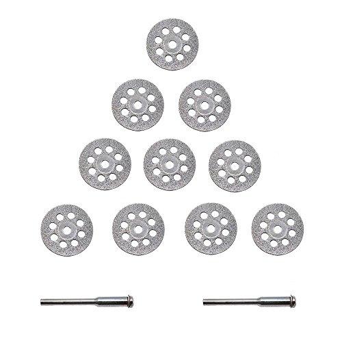 APLUS Diamant Mini Trennscheibe Set Diamant Trennscheibe Satz Schneidscheiben Gelocht 22mm mit 2 Arbors 10 Stück
