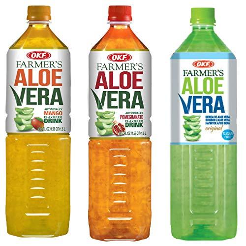 OKF Farmer's Aloe Vera Drink, Mango, Pomegranate & Sugar Free, 50.7 Fluid Ounce (Pack of 12 each)