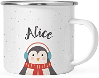 Andaz Press Personalized 11oz. Christmas Hot Chocolate Stainless Steel Campfire Coffee Mug Gift, Penguin, 1-Pack, Custom Name Enamel Metal Camp Cup for Him Her, Includes Gift Box