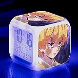 NULINULI Reloj Despertador Cuadrado Anime Boy Manga, Reloj Creativo con Luz Nocturna Led De 7 Colores, Regalos para El Dormitorio 8cm 8