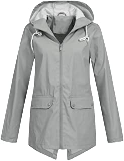 iHHAPY Ladies Hooded Jacket Raincoat Winter Coat Waterproof Windbreaker Solid Functional Jacket with Zipper and Pocket