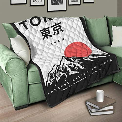Flowerhome Japanisch Tokyo Tagesdecke Steppdecke Bettdecke Bettüberwurf Sofadecke Couchdecke Schlafdecke Wohndecken Kuscheldecken für Erwachsene Kinder White 150x200cm