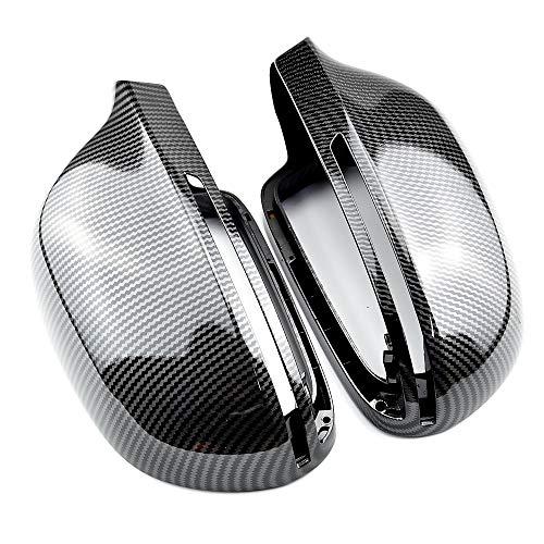 DJQNB Tapas de Espejo, Reemplazo Completo Negro Brillante con Clips Cubierta de Espejo retrovisor Lateral de Puerta de automóvil para A4 A5 B8 A3 8P A6 C6 Q3,Carbon Look Black