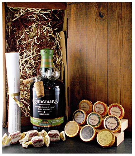 Geschenk Connemara Original irischer Single Malt Whiskey + Glaskugelportionierer+ Edelschokolade + Fudge