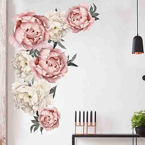 XCWQ muursticker pioenroos roze bloemen muursticker kunst kinderkamer decoratie geschenk PVC 60 x 90 cm