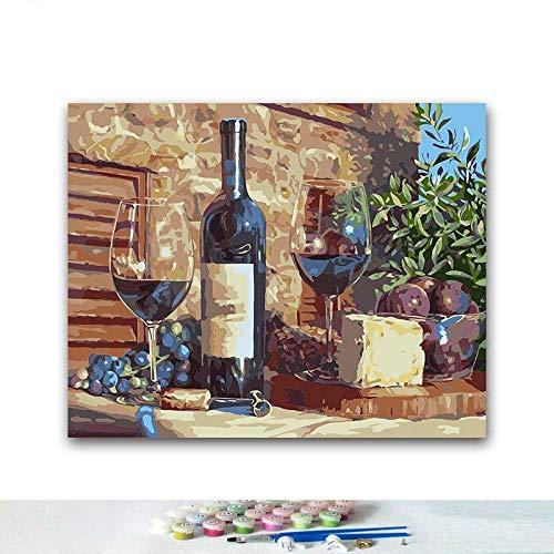 LRZZDP Diy Kleurplaten Verf Door Getallen Fruit En Wijn Op De Tafel Schilderijen Door Getallen 40X50Cm