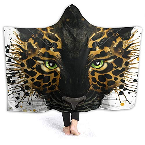 N /A Hooded Blanket Cute Animal Jaguar Face Wearable Fleece Blankets Soft Warm for Kid Adults Women Men Throw Cuddle Poncho Cloak Cape Adults/Womens/Mens Throw
