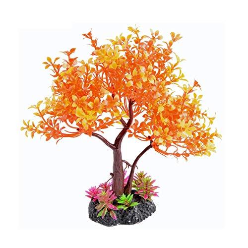 Saim Pets Plastic Plants Artificial Orange Yellow Tree for Fish Tank Decorations Aquarium Decor Bonsai Ornament 8.6' Height