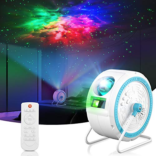 LED-Sternlichtprojektor, Kann aufgehängt und um 360 ° gedreht werdenfarbwechselnder Musik-Player mit Bluetooth, Timer und Fernbedienung für Kinder, Erwachsene, Raumdekoration (Weiß)