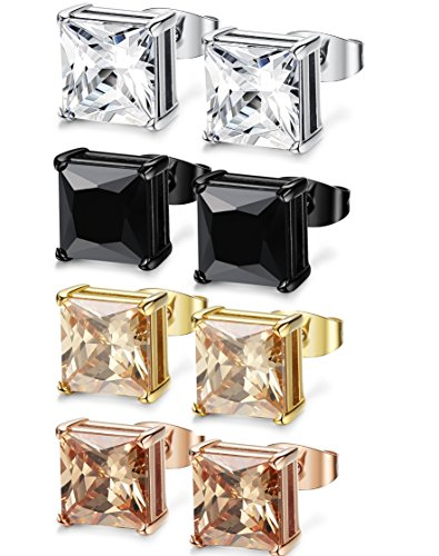 Fibo acero 4pares Acero Inoxidable Square Stud Pendientes para los hombres las mujeres Ear Piercing pendientes circonita incrustaciones, 3–8mm disponible