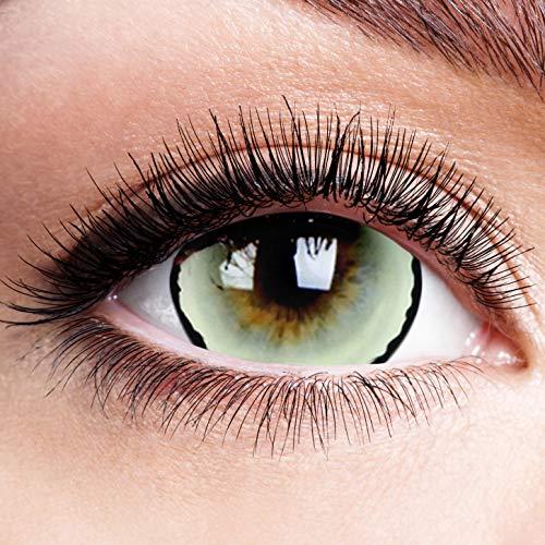 Farbige Kontaktlinsen ohne Stärke mit Venus Motiv schwarzer Rand Mini Sclera Linsen Halloween Karneval Fasching Cosplay Grüne Augen Werwolf Horror Zombie Vampir Eyes Grün Schwarz 17mm