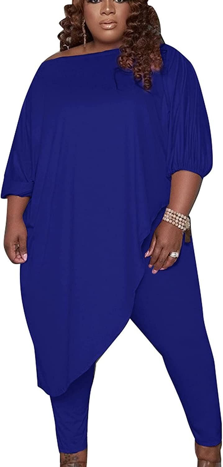 Women's Plus Size 2 Piece Club Outfits Causal One Shoulder Asymmetrical Tunic Tops Sexy Legging Tracksuits Set