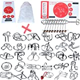 32 Brain Teasers Metal Wire IQ Puzzles,for Adult Children and Student Expanding Mind, Disentanglement Puzzle Unlock Interlock Toys