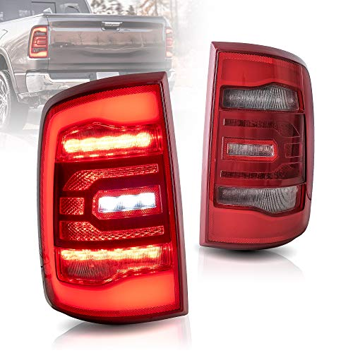 VLAND Full LED Taillights Compatible for [Dodge RAM 1500 2009-2018] Reverse Running Brake Turning Comprehensive Function Rear Lamps Assembly with Red Turn Signal lights, YAB-RM-0338