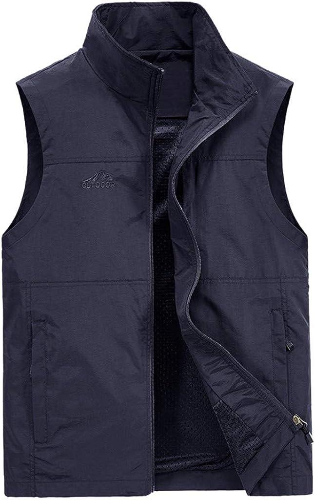 HDGTSA Men's Casual Outdoor Vest Solid Quick-Drying Waistcoat Jacket Tops Blouse