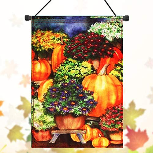 EgBert 28' X40 ' Kürbis & Mums Fall Gartenfahne Saisonale Yard Banner Herbstdekorationen