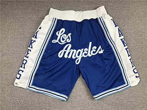 Wo nice Pantalones Cortos para Hombres, Los Angeles Lakers Pantalones Cortos Casuales Deportivos De NBA Pantalones Cortos De Entrenamiento De Baloncesto Pantalones Sueltos,Azul,S(160~170CM)