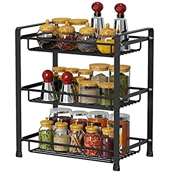 Spice Rack Ace Teah 3 Tier Spice Racks Holder Kitchen Countertop Storage Shelf Seasoning Standing Rack Organizer Black