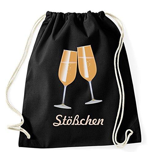 Stößchen Sekt Champagner Party Fun Gymsack Turnbeutel