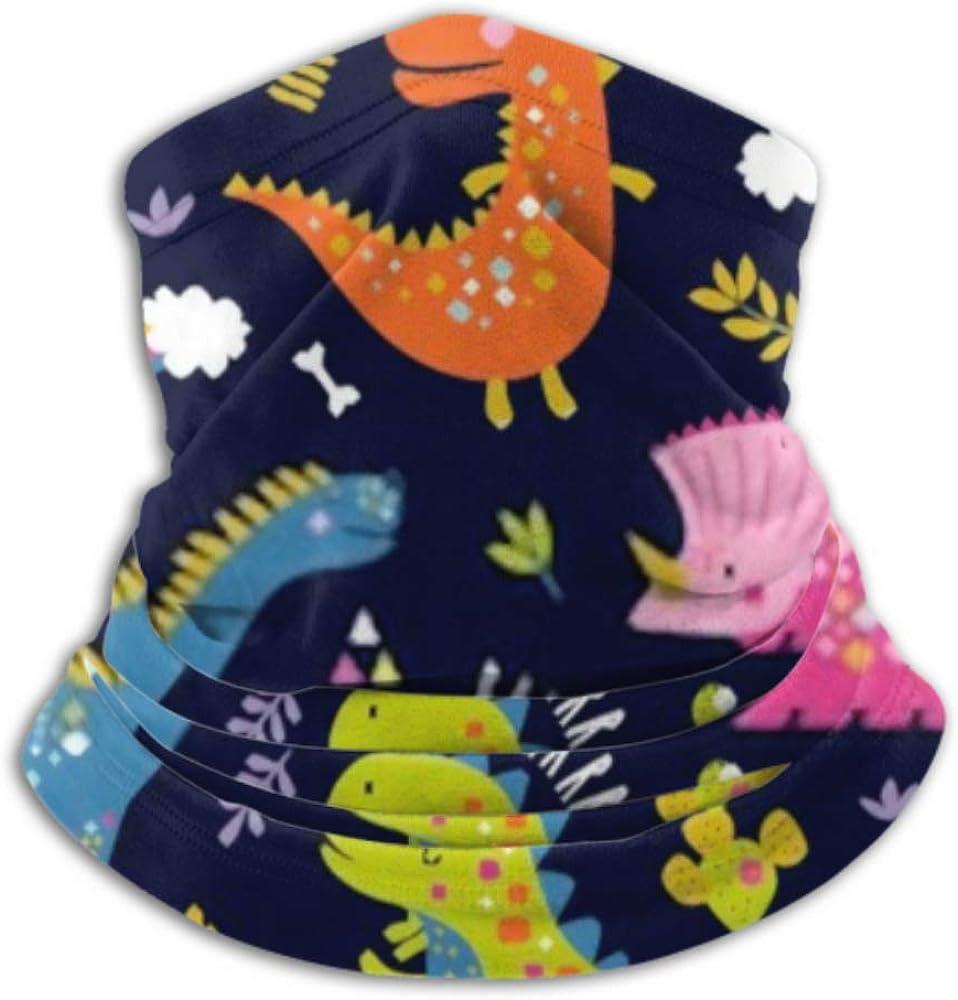 Fleece Neck Warmer ,multifunctional Cute Funny Kids Dinosaurs Pattern Colorful Scarf,Neck Gaiter, Neck Cap, Neck Scarf, Balaclava, Headwear, Bandana,