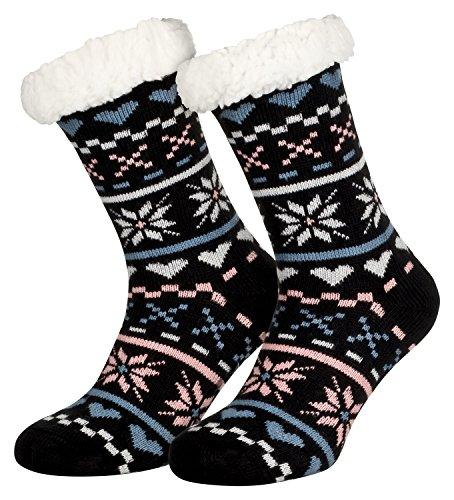 Piarini 1 Paar Kuschelsocken mit ABS Sohle - warme Damen Socken Hüttensocken - Wintersocken mit Anti Rutsch Noppen - Love-Schwarz (One-Size)