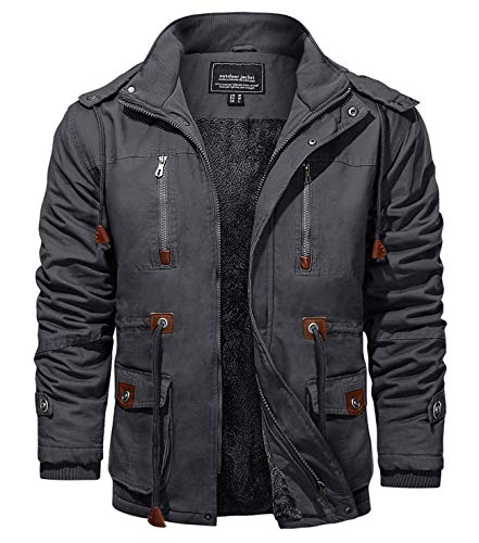 KEFITEVD Chaquetas de invierno para hombres de forro polar Windbeaker a prueba de viento con capucha bombardero chaqueta cargo Abrigos militares con múltiples bolsillos