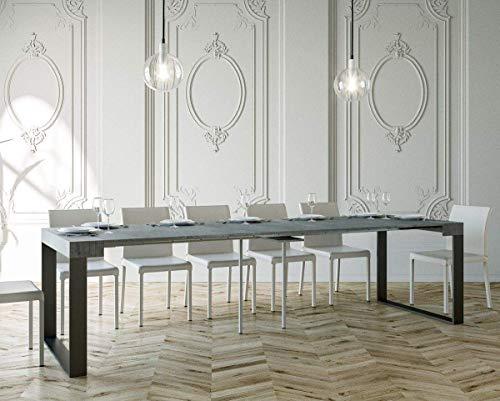 Itamoby Elettra Consolle Allungabile, Pannelli di Nobilitato, Cemento Antracite, 90 X 40 X 77