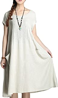 Women's Summer Solid Color Dress with Two Pockets