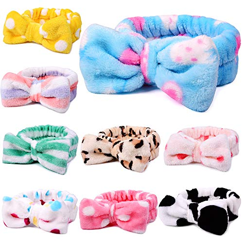 UMIKU 9 Pack Spa Headband for Women, Facial Makeup Headband Soft Coral Fleece Cosmetic Headband for Women Girls Bow Hair Band Head Wraps for Washing Face Mask Spa Shower Gifts