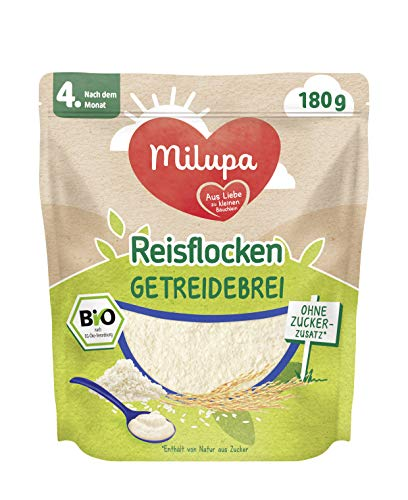 Milupa Reisflocken Bio Getreidebrei nach dem 4. Monat, 4er Pack (4 x 180 g)