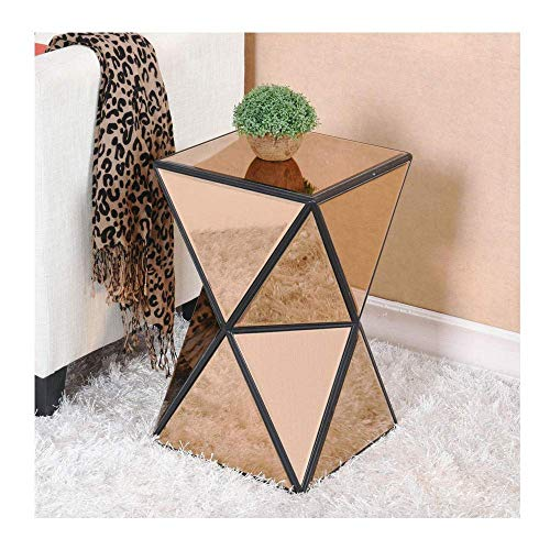 DAKEUR Living Room Mirrored Nightstand Sofa Sidetable Coffee Tea Table Glass Corner Side End Table Modern Small Narrow Table Triangle Glossy Transparent Waterproof-Golden