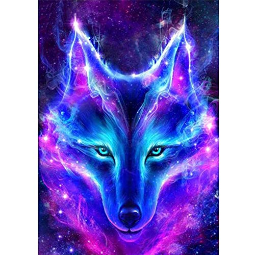 Diamond Painting Kits for Adults Kids, 5D DIY Wolf Head Diamond Art Accessories with Round Full Drill for Home Wall Decor - 11.8×15.7Inches