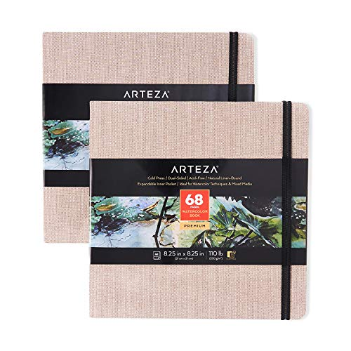 Arteza Watercolor Sketchbooks, 8.25x8.25-inch, 2-Pack, 68 Sheets, Beige Art Journal, Hardcover 110lb Paper Book, Watercolor Sketchbook for Use as Travel Journal and Mixed Media Pad