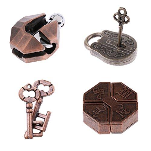 Homyl 4 Stücke Vintage Lock Puzzle Denkaufgabe Kids Mind Spiel Spielzeug IQ Test Zaubertrick