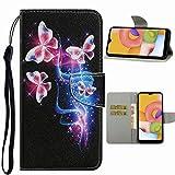 Nadoli Handyhülle für iPhone 11 6.1',Kreativ Fluoreszierend Schmetterling Muster Premium Leder Lanyard Magnetverschluss Ständerfunktion Schutzhülle...